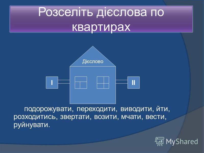 Розселіть дієслова по квартирах подорожувати, переходити, виводити, йти, розходитись, звертати, возити, мчати, вести, руйнувати. Дієслово ІІІ