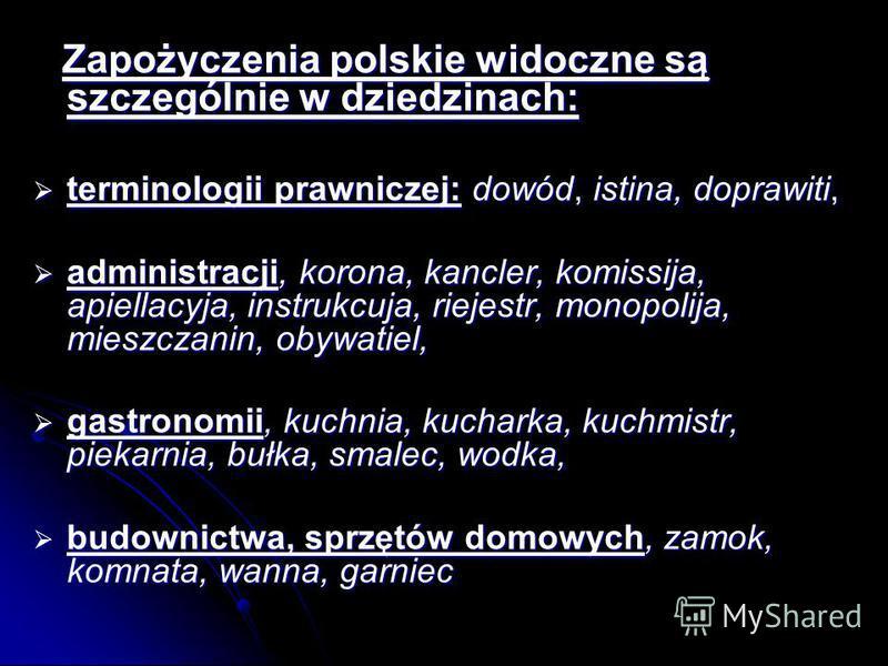 Zapożyczenia polskie widoczne są szczególnie w dziedzinach: Zapożyczenia polskie widoczne są szczególnie w dziedzinach: terminologii prawniczej: dowód, istina, doprawiti, terminologii prawniczej: dowód, istina, doprawiti, administracji, korona, kancl