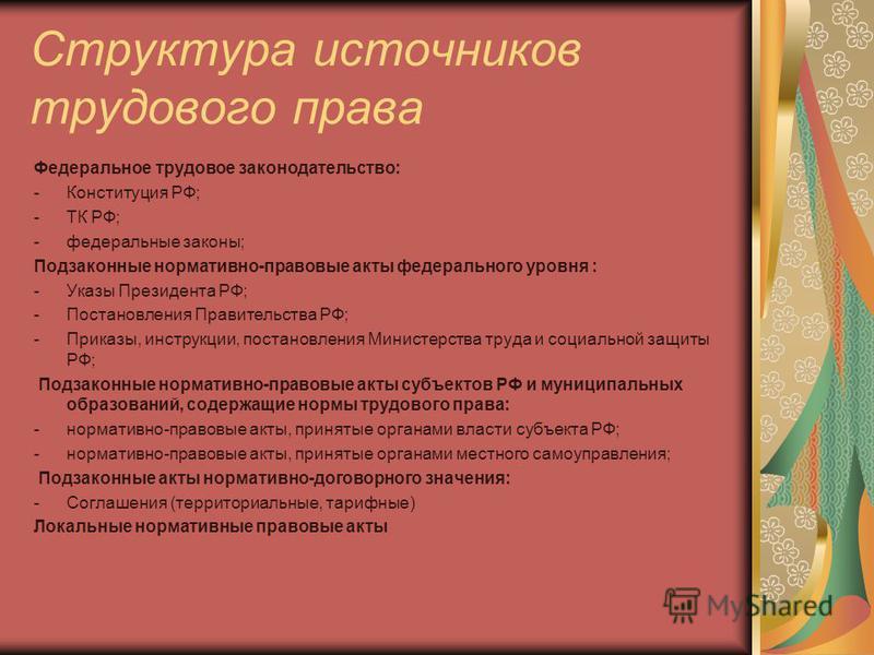 Структура источников трудового права Федеральное трудовое законодательство: -Конституция РФ; -ТК РФ; -федеральные законы; Подзаконные нормативно-правовые акты федерального уровня : -Указы Президента РФ; -Постановления Правительства РФ; -Приказы, инст
