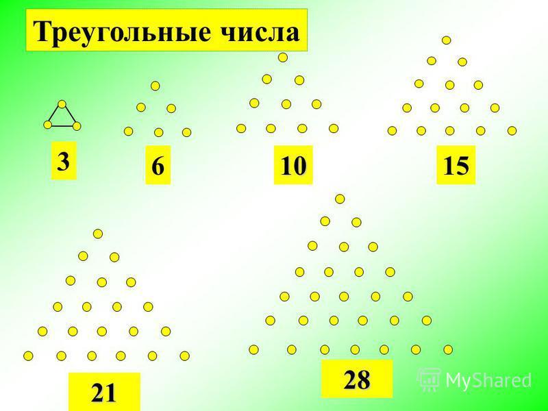 3 6 10 15 21 28 Треугольные числа