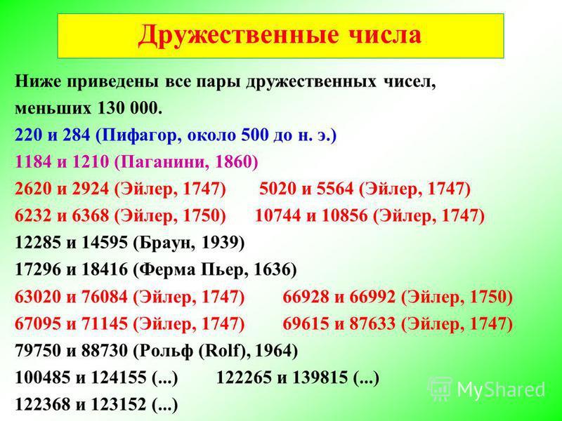 Ниже приведены все пары дружественных чисел, меньших 130 000. 220 и 284 (Пифагор, около 500 до н. э.) 1184 и 1210 (Паганини, 1860) 2620 и 2924 (Эйлер, 1747) 5020 и 5564 (Эйлер, 1747) 6232 и 6368 (Эйлер, 1750) 10744 и 10856 (Эйлер, 1747) 12285 и 14595