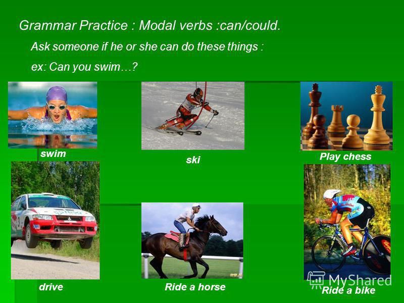 Grammar Practice : Modal verbs :can/could. Ask someone if he or she can do these things : ex: Can you swim…? swim ski Play chess driveRide a horse Ride a bike