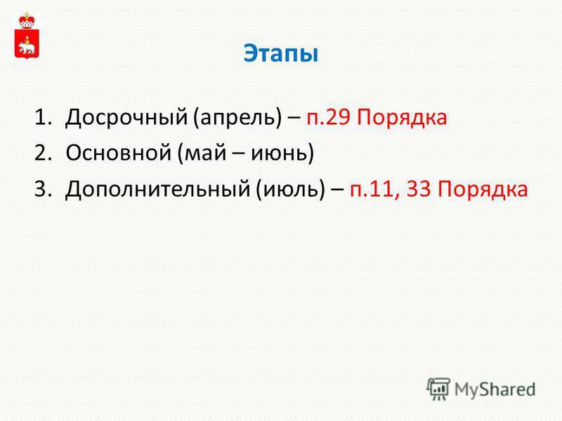 Этапы 1. Досрочный (апрель) – п.29 Порядка 2. Основной (май – июнь) 3. Дополнительный (июль) – п.11, 33 Порядка