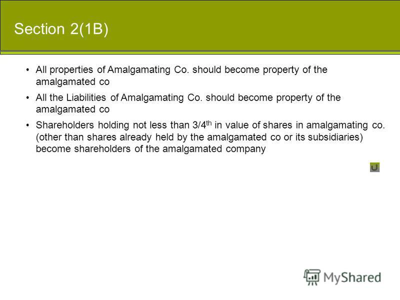 All properties of Amalgamating Co. should become property of the amalgamated co All the Liabilities of Amalgamating Co. should become property of the amalgamated co Shareholders holding not less than 3/4 th in value of shares in amalgamating co. (oth