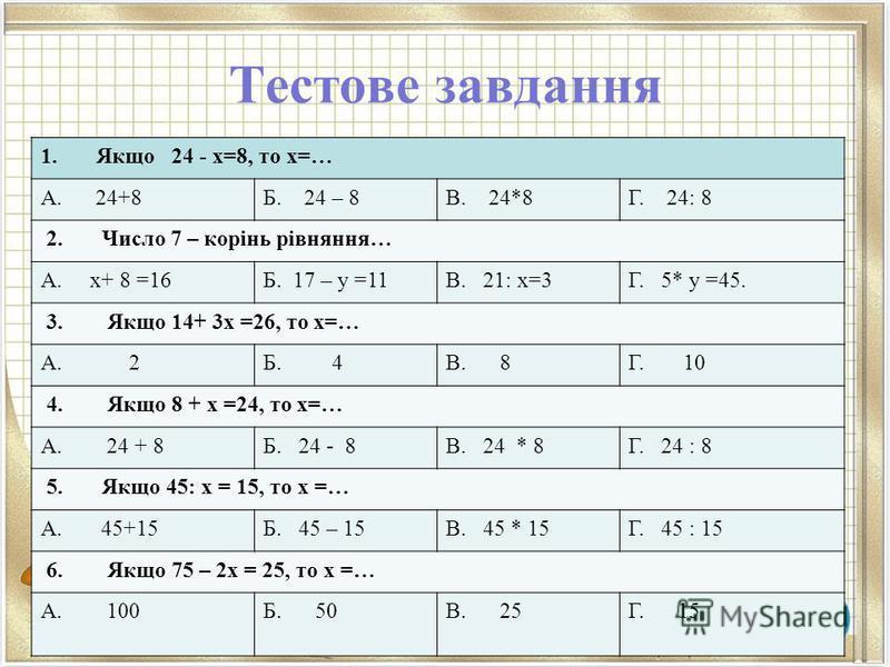 Тестове завдання 1. Якщо 24 - х=8, то х=… А. 24+8Б. 24 – 8В. 24*8Г. 24: 8 2. Число 7 – корінь рівняння… А. х+ 8 =16Б. 17 – у =11В. 21: х=3Г. 5* у =45. 3. Якщо 14+ 3х =26, то х=… А. 2Б. 4В. 8Г. 10 4. Якщо 8 + х =24, то х=… А. 24 + 8Б. 24 - 8В. 24 * 8Г
