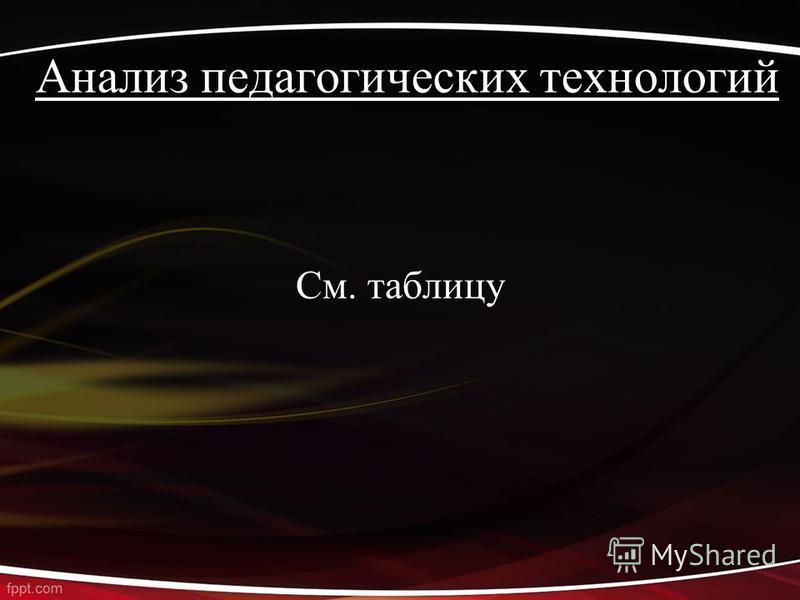 Анализ педагогических технологий См. таблицу