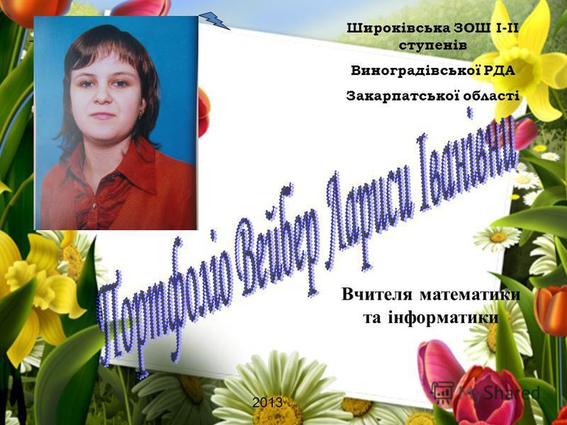 Вчителя математики та інформатики 2013 Широківська ЗОШ І-ІІ ступенів Виноградівської РДА Закарпатської області