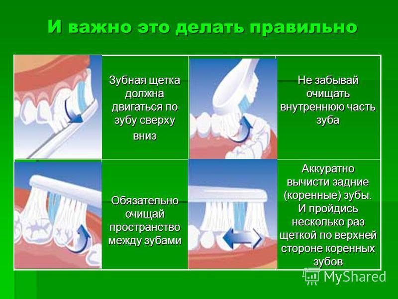 И важно это делать правильно Зубная щетка должна двигаться по зубу сверху вниз Не забывай очищать внутреннюю часть зуба Обязательно очищай пространство между зубами Аккуратно вычисти задние (коренные) зубы. И пройдись несколько раз щеткой по верхней