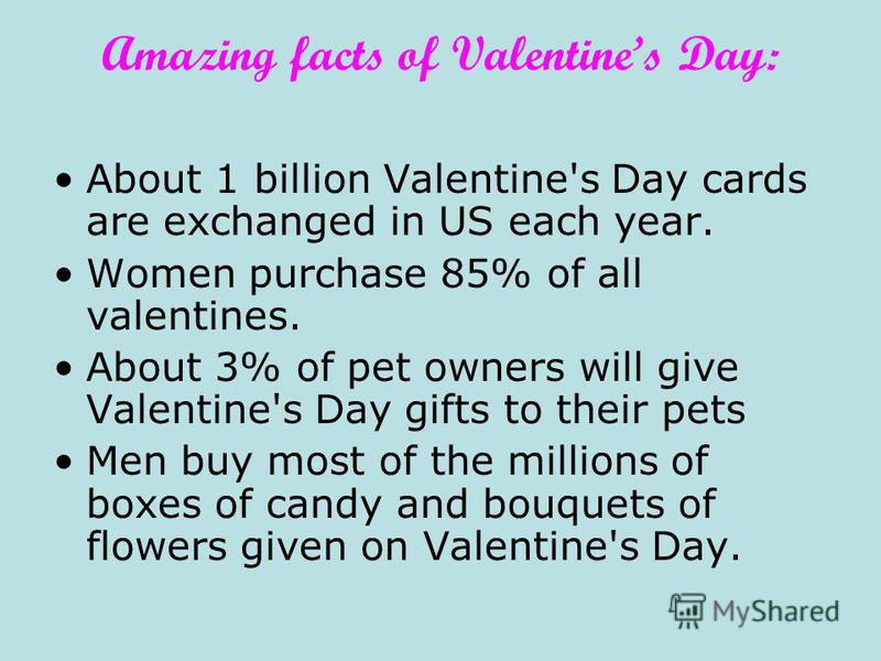 Amazing facts of Valentines Day: About 1 billion Valentine's Day cards are exchanged in US each year. Women purchase 85% of all valentines. About 3% of pet owners will give Valentine's Day gifts to their pets Men buy most of the millions of boxes of