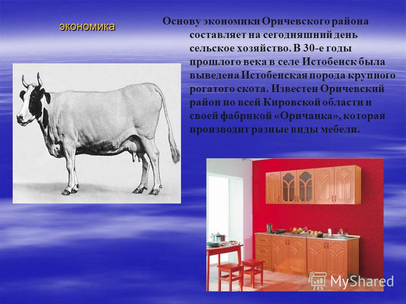 экономика Основу экономики Оричевского района составляет на сегодняшний день сельское хозяйство. В 30-е годы прошлого века в селе Истобенск была выведена Истобенская порода крупного рогатого скота. Известен Оричевский район по всей Кировской области