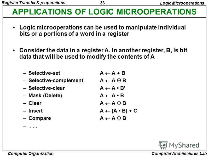 33 Register Transfer & -operations Computer Organization Computer Architectures Lab APPLICATIONS OF LOGIC MICROOPERATIONS Logic Microoperations Logic microoperations can be used to manipulate individual bits or a portions of a word in a register Cons