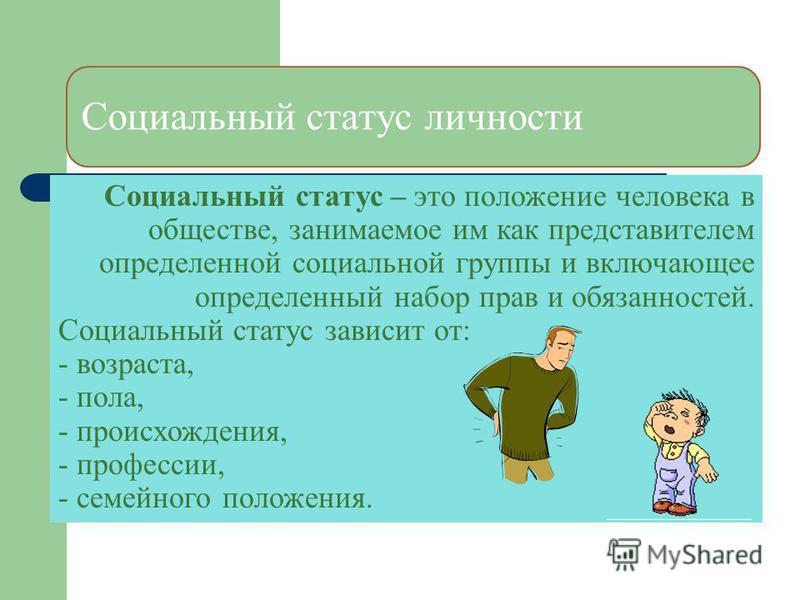 Социальный статус личности Социальный статус – это положение человека в обществе, занимаемое им как представителем определенной социальной группы и включающее определенный набор прав и обязанностей. Социальный статус зависит от: - возраста, - пола, -