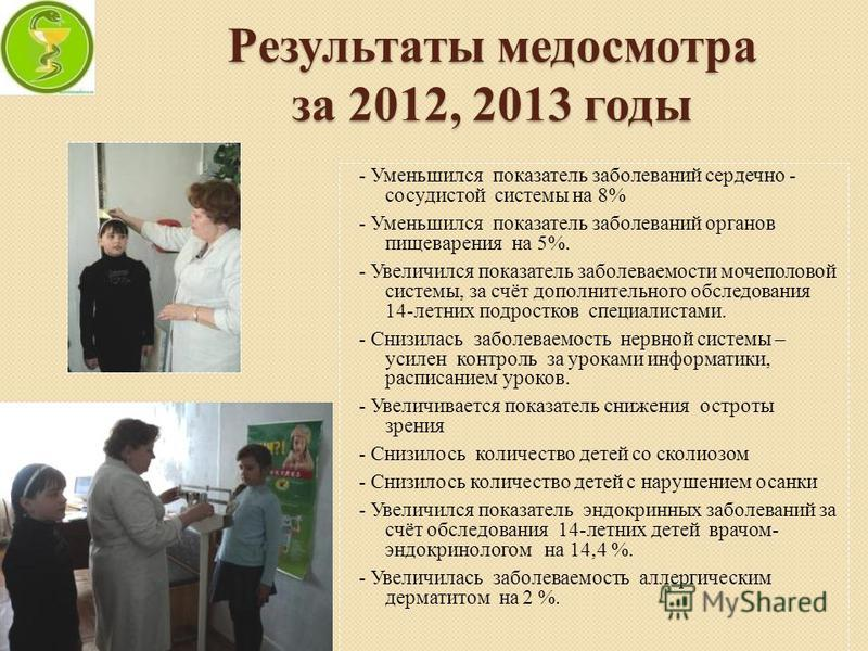 Результаты медосмотра за 2012, 2013 годы - Уменьшился показатель заболеваний сердечно - сосудистой системы на 8% - Уменьшился показатель заболеваний органов пищеварения на 5%. - Увеличился показатель заболеваемости мочеполовой системы, за счёт дополн
