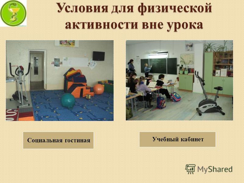 Условия для физической активности вне урока Социальная гостиная Учебный кабинет