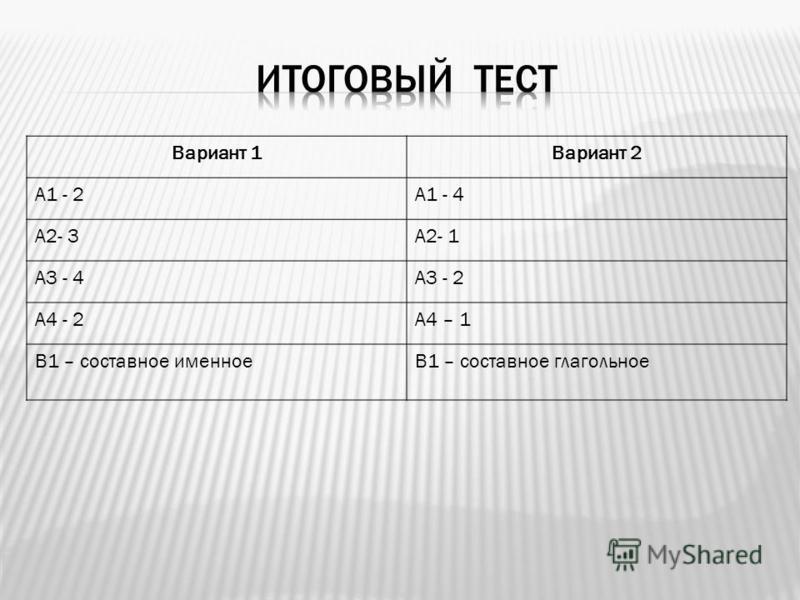Вариант 1Вариант 2 А1 - 2А1 - 4 А2- 3А2- 1 А3 - 4А3 - 2 А4 - 2А4 – 1 В1 – составное именноеВ1 – составное глагольное