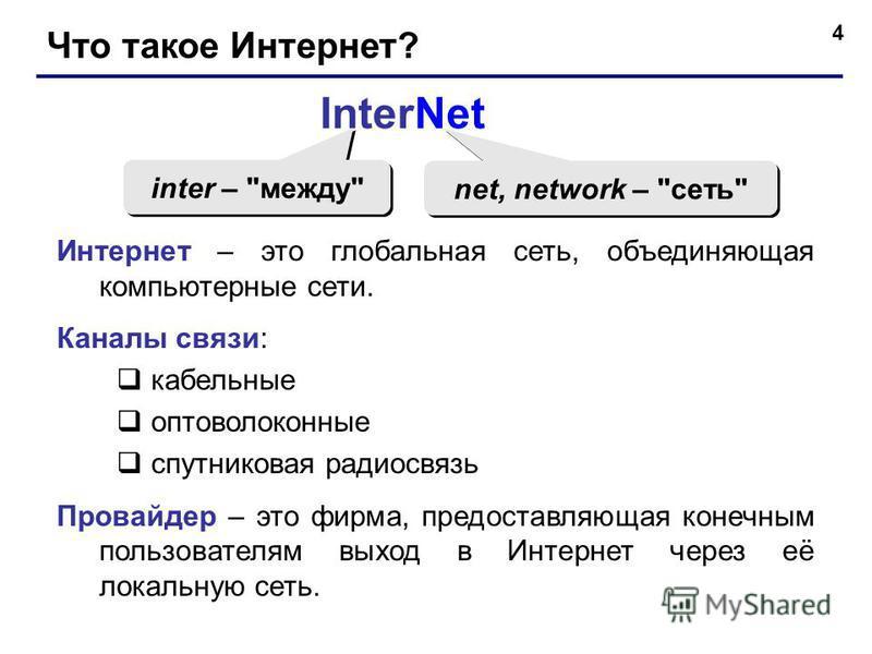 4 Что такое Интернет? InterNet inter –