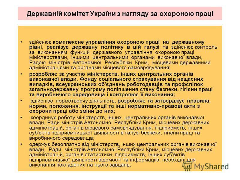 Державній комітет України з нагляду за охороною праці здійснює комплексне управління охороною праці на державному рівні, реалізує державну політику в цій галузі та здійснює контроль за виконанням функцій державного управління охороною праці міністерс