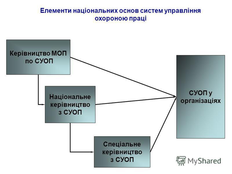 Елементи національних основ систем управління охороною праці Керівництво МОП по СУОП Національне керівництво з СУОП Спеціальне керівництво з СУОП СУОП у організаціях