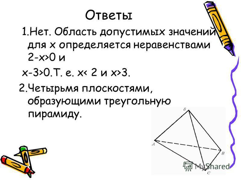 Ответы 1.Нет. Область допустимых значений для х определяется неравенствами 2-х>0 и х-3>0.Т. е. х 3. 2. Четырьмя плоскостями, образующими треугольную пирамиду.