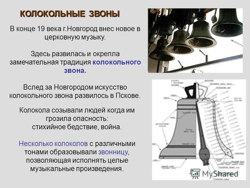В конце 19 века г.Новгород внес новое в церковную музыку. Здесь развилась и окрепла замечательная традиция колокольного звона. Вслед за Новгородом искусство колокольного звона развилось в Пскове. КОЛОКОЛЬНЫЕ ЗВОНЫ Колокола созывали людей когда им гро
