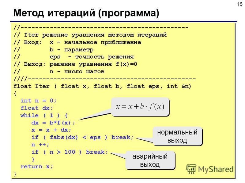 15 Метод итераций (программа) //---------------------------------------------- // Iter решение уравнения методом итераций // Вход: x – начальное приближение // b - параметр // eps - точность решения // Выход: решение уравнения f(x)=0 // n - число шаг