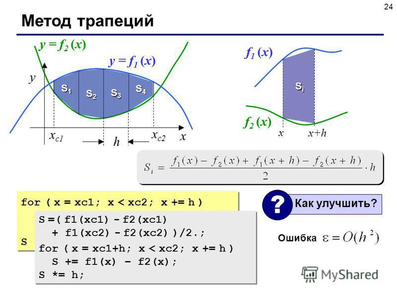 24 Метод трапеций x y x с 2 x с 1 h y = f 1 (x) y = f 2 (x) for ( x = xc1; x < xc2; x += h ) S += f1(x) – f2(x) + f1(x+h) – f2(x+h); S *= h/2; for ( x = xc1; x < xc2; x += h ) S += f1(x) – f2(x) + f1(x+h) – f2(x+h); S *= h/2; Ошибка x x+h f 1 (x) f 2