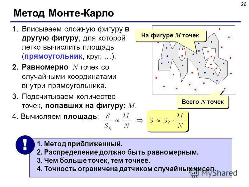 26 Метод Монте-Карло 1. Вписываем сложную фигуру в другую фигуру, для которой легко вычислить площадь (прямоугольник, круг, …). 2. Равномерно N точек со случайными координатами внутри прямоугольника. 3. Подсчитываем количество точек, попавших на фигу