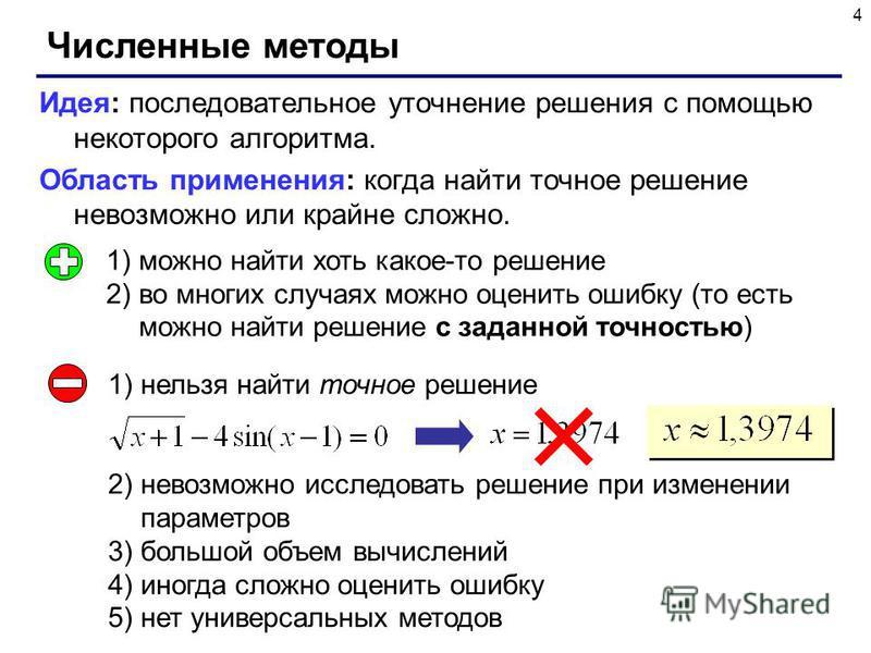 4 Численные методы Идея: последовательное уточнение решения с помощью некоторого алгоритма. Область применения: когда найти точное решение невозможно или крайне сложно. 1)можно найти хоть какое-то решение 2)во многих случаях можно оценить ошибку (то