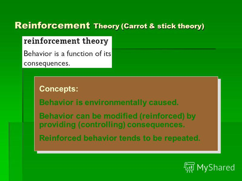 Reinforcement Theory (Carrot & stick theory) Concepts: Behavior is environmentally caused. Behavior can be modified (reinforced) by providing (controlling) consequences. Reinforced behavior tends to be repeated. Concepts: Behavior is environmentally