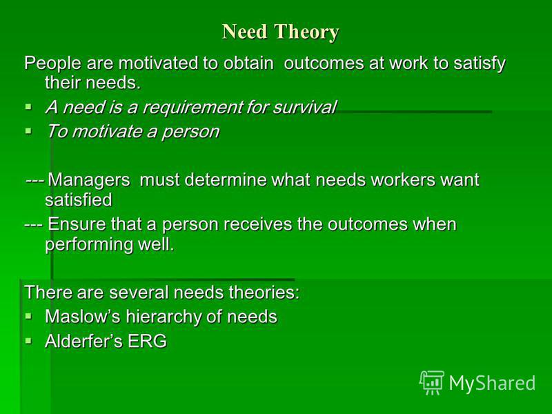 Need Theory People are motivated to obtain outcomes at work to satisfy their needs. A need is a requirement for survival A need is a requirement for survival To motivate a person To motivate a person --- Managers must determine what needs workers wan