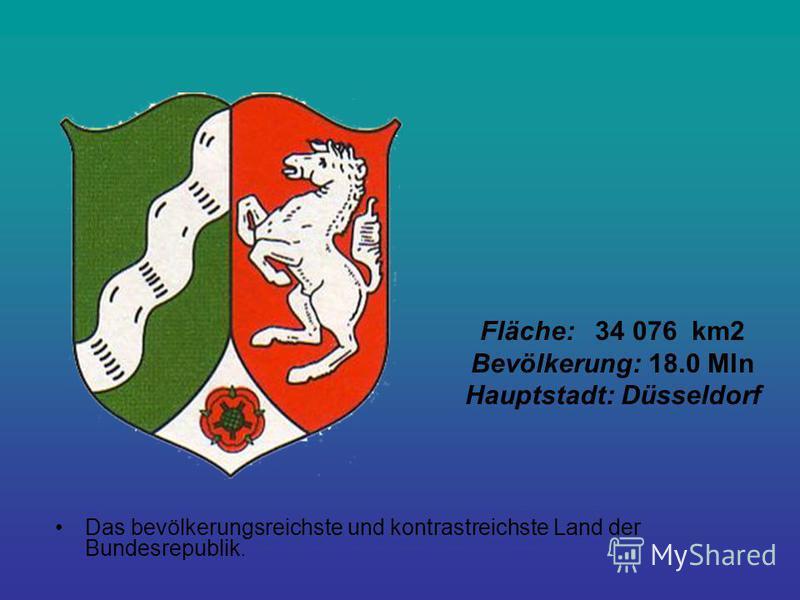 Fläche: 34 076 km2 Bevölkerung: 18.0 Mln Hauptstadt: Düsseldorf Das bevölkerungsreichste und kontrastreichste Land der Bundesrepublik.