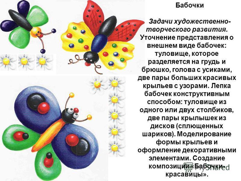 Бабочки Задачи художественно- творческого развития. Уточнение представления о внешнем виде бабочек: туловище, которое разделяется на грудь и брюшко, голова с усиками, две пары больших красивых крыльев с узорами. Лепка бабочек конструктивным спосо