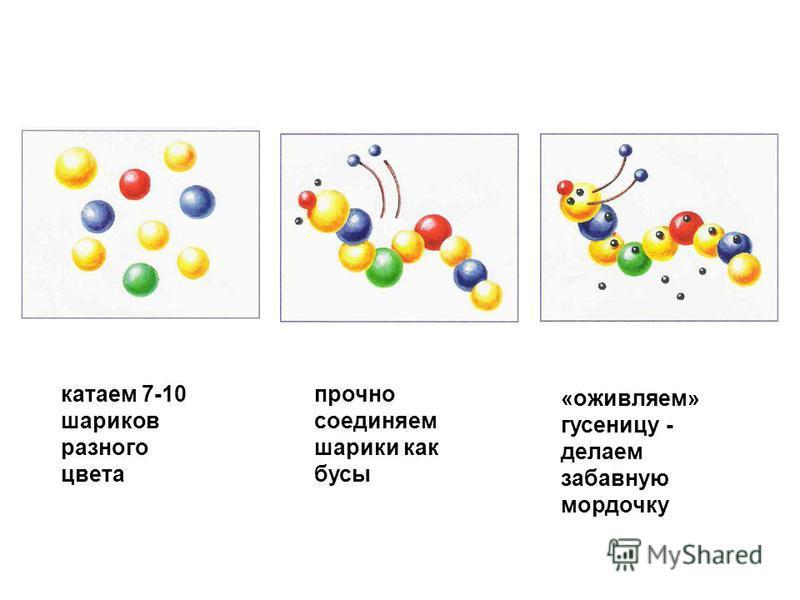 катаем 7-10 шариков разного цвета прочно соединяем шарики как бусы «оживляем» гусеницу - делаем забавную мордочку