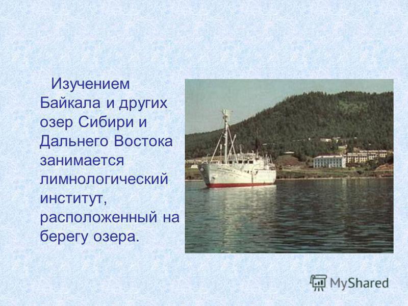 Изучением Байкала и других озер Сибири и Дальнего Востока занимается лимнологический институт, расположенный на берегу озера.