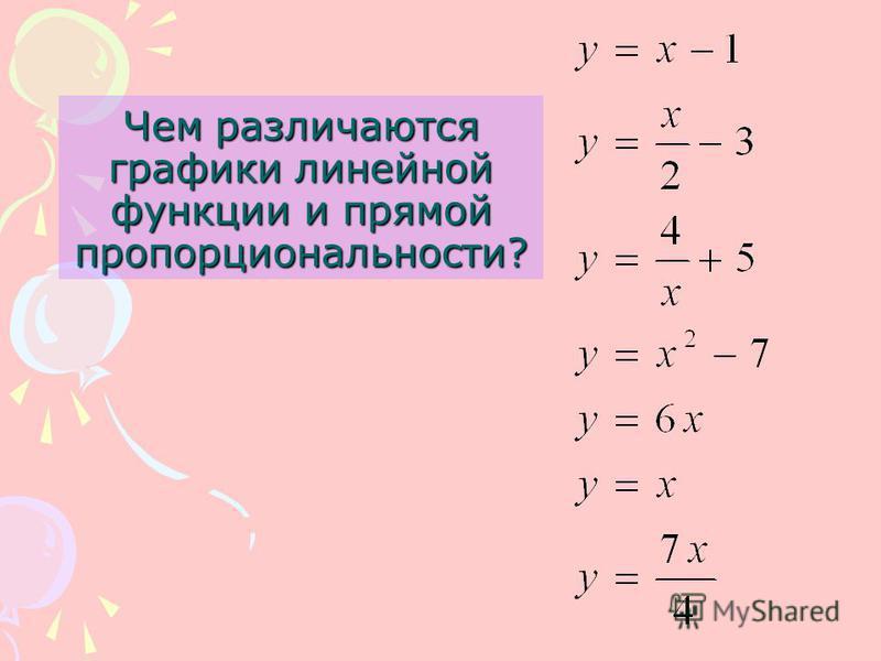 Чем различаются графики линейной функции и прямой пропорциональности?