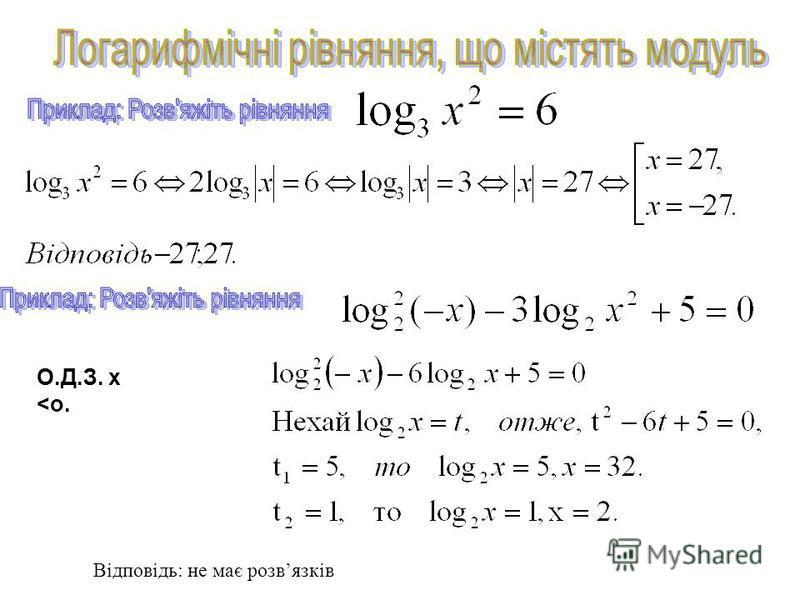 Враховуючи ОДЗ, дане рівняння рівносильне системі: Відповідь: 32,75 Розвязування : Розвязати рівняння: