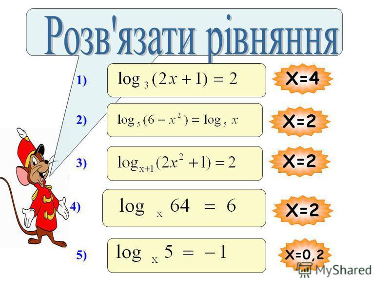 Розвязати логарифмічне рівняння – це означає знайти всі його корені або довести, що рівняння коренів не має. Найпростіші логарифмічні рівняння мають вигляд : 1 2 3
