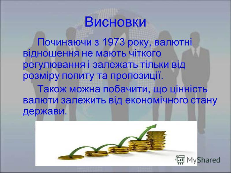 Висновки Починаючи з 1973 року, валютні відношення не мають чіткого регулювання і залежать тільки від розміру попиту та пропозиції. Також можна побачити, що цінність валюти залежить від економічного стану держави.