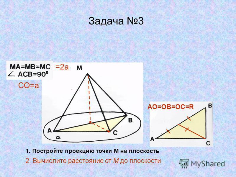 Задача 3 1. Постройте проекцию точки М на плоскость =2 а CO=a AO=OB=OC=R 2. Вычислите расстояние от М до плоскости