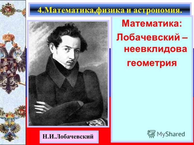 Математика: Лобачевский – неевклидова геометрия 4.Математика,физика и астрономия. Н.И.Лобачевский