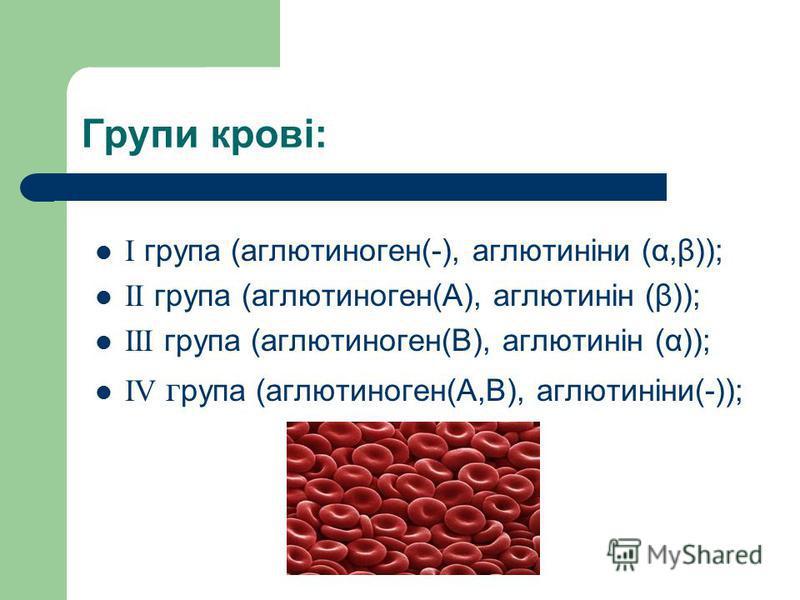 Групи крові: І група (аглютиноген(-), аглютиніни (α,β)); II група (аглютиноген(А), аглютинін (β)); III група (аглютиноген(В), аглютинін (α)); IV г рупа (аглютиноген(А,В), аглютиніни(-));