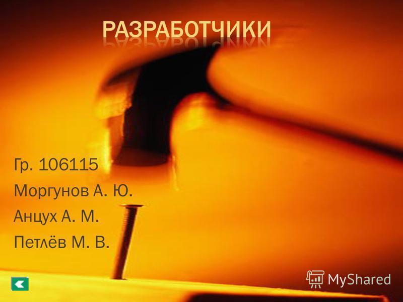 Гр. 106115 Моргунов А. Ю. Анцух А. М. Петлёв М. В.