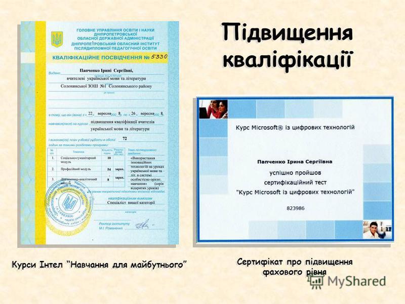 Курси Інтел Навчання для майбутнього Підвищення кваліфікації Сертифікат про підвищення фахового рівня