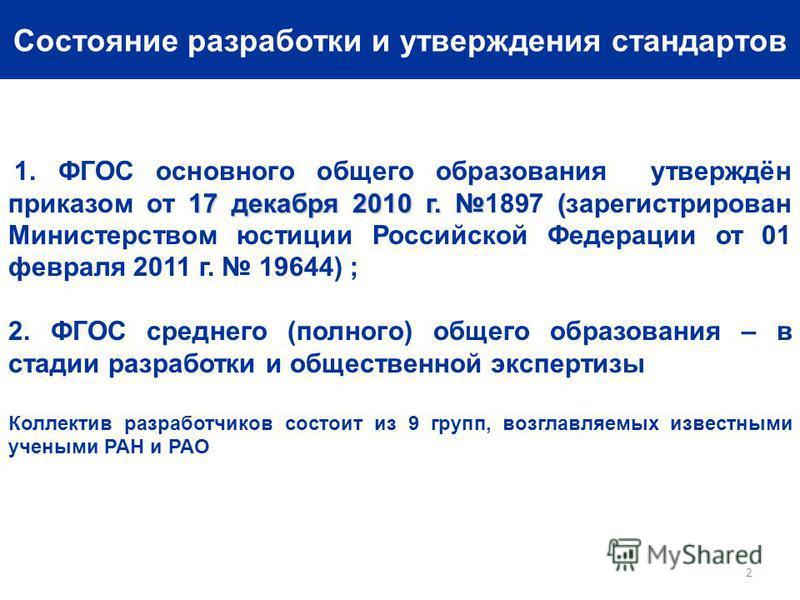 Состояние разработки и утверждения стандартов 17 декабря 2010 г. ( 1. ФГОС основного общего образования утверждён приказом от 17 декабря 2010 г. 1897 (зарегистрирован Министерством юстиции Российской Федерации от 01 февраля 2011 г. 19644) ; 2. ФГОС с