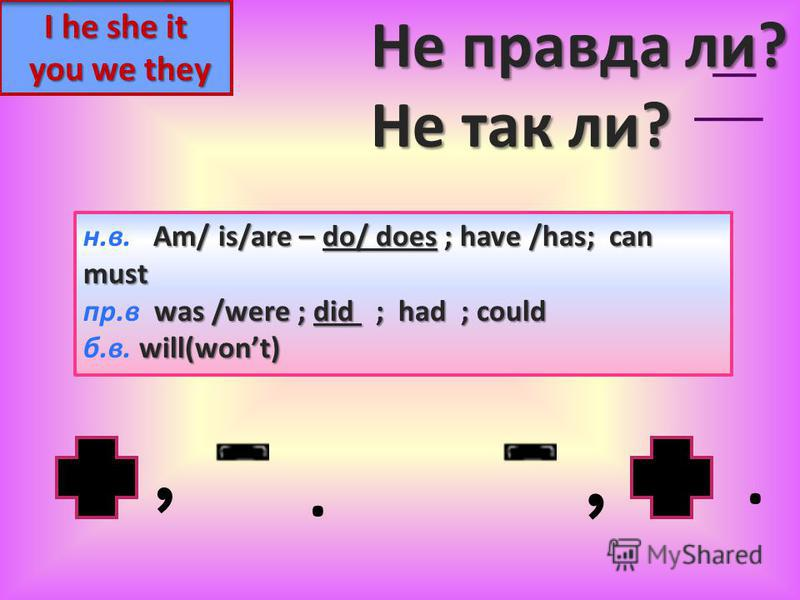 I he she it you we they Am/ is/are – do/ does ; have /has; can н.в. Am/ is/are – do/ does ; have /has; canmust was /were ;did ; had ; could пр.в was /were ; did ; had ; could will(wont) б.в. will(wont),,.. Не правда ли? Не так ли?