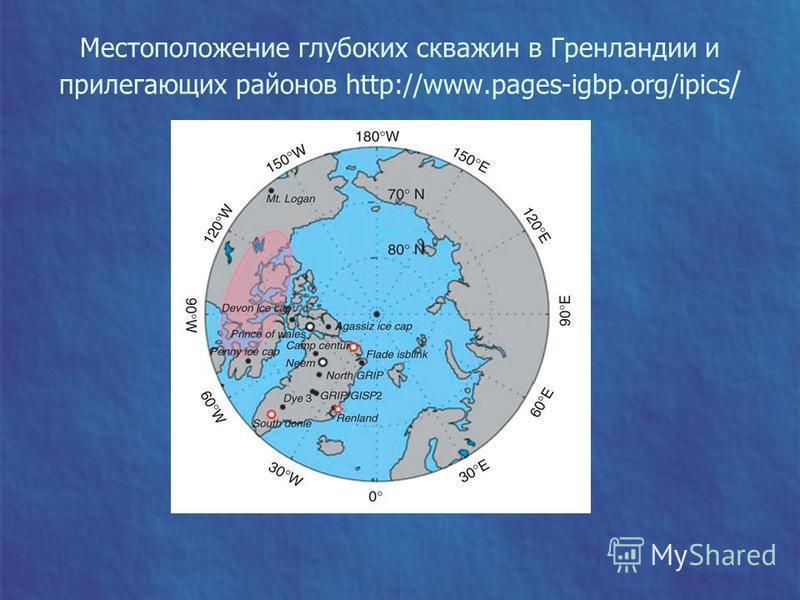 Местоположение глубоких скважин в Гренландии и прилегающих районов http://www.pages-igbp.org/ipics /