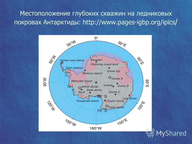 Местоположение глубоких скважин на ледниковых покровах Антарктиды: http://www.pages-igbp.org/ipics /