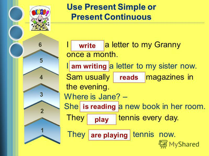 1 I (to write) a letter to my sister now. Sam usually (to read) magazines in the evening. Where is Jane? – She (to read) a new book in her room. They (to play) tennis every day. They (to play) tennis now. Use Present Simple or Present Continuous I (t