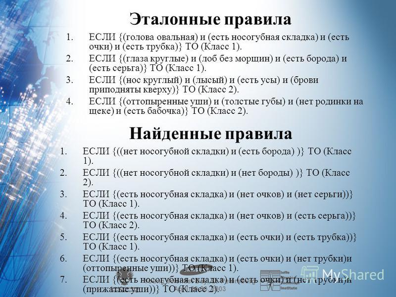 Young Scientist Day, St. Petersburg April 29-30, 2003 Дерево логического вывода