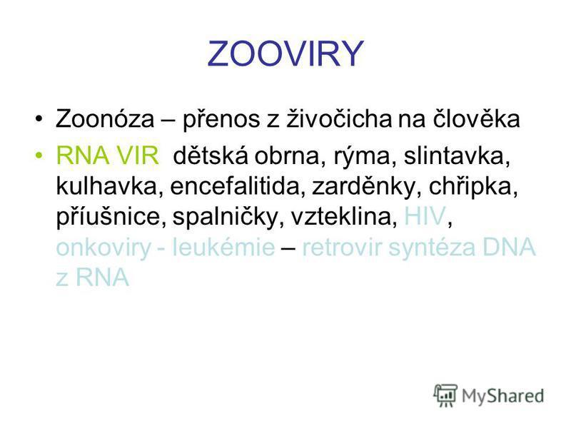 ZOOVIRY Zoonóza – přenos z živočicha na člověka RNA VIR dětská obrna, rýma, slintavka, kulhavka, encefalitida, zarděnky, chřipka, příušnice, spalničky, vzteklina, HIV, onkoviry - leukémie – retrovir syntéza DNA z RNA